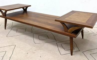 Mid Century Modern Walnut Tiered Coffee Table. Two Rais