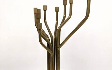 Modernist Brass and Wood Menorah. Artist Signed and dat