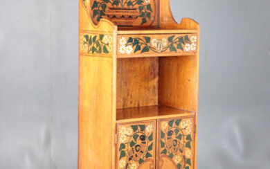 Modernist shelf with cabinet in pyrograph, inked and painted wood, early 20th Century.