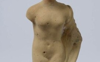 """Naked female figure in drapery"" in terracotta. Period: Hellenistic, Taranto. Period: 3rd - 2nd century BC. Provenance: Belgian private collection formed in the 1990s by Mr. D.A. A thermoluminescence test is attached. (Missing feet). H.(out of base):..."