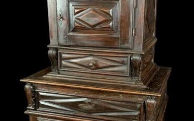 Nice recessed cabinet - Louis XIII period - Natural wood - 17th century