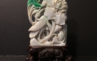 OLD Large Chinese Feicui carvings with Crane and fish and lotus on wood stand
