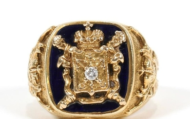 ONYX & DIAMOND, GOLD, VICTORIAN ROYAL CREST RING