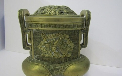 ORIENTAL METALWARE, Chinese twin handled brass temple incens...