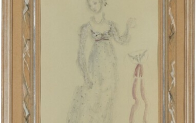 Oliver Hilary Sambourne Messel (1904-1978), Costume design for the Queen of Spades, showing Lisaveta Ivanova's opera dress, from the Royal Opera House production of Tchaikovsky's The Queen of Spades, December 1950