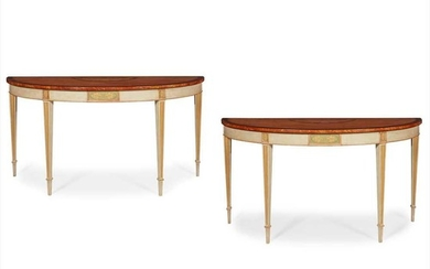 PAIR OF GEORGE III STYLE SATINWOOD, PARTRIDGEWOOD, PAINTED, AND PARCEL GILT CONSOLE TABLES TOPS 18TH CENTURY, BASES LATER