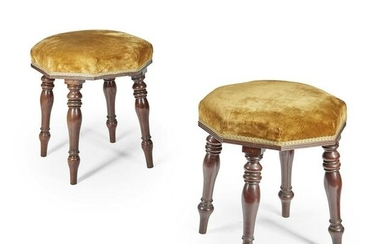 PAIR OF LATE REGENCY MAHOGANY AND UPHOLSTERED STOOLS