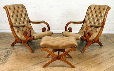 PR MAHOGANY CAMPAIGN STYLE LOUNGE CHAIRS & STOOL