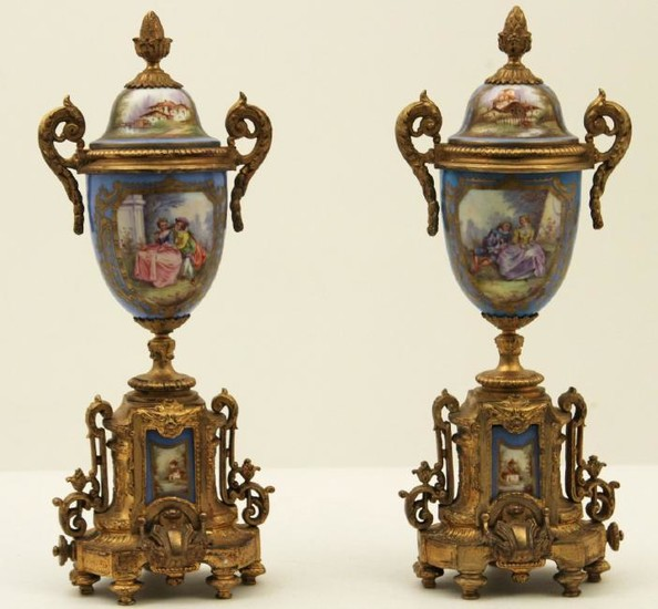 "PR. OF FRENCH SEVRES 17"" CAPPED URNS"