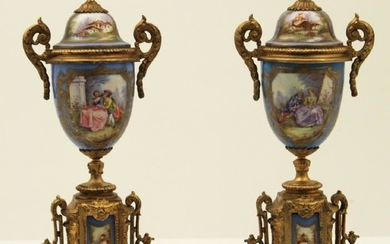 """PR. OF FRENCH SEVRES 17"""" CAPPED URNS"""