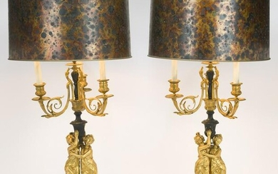 Pair Bronze Dore Figural Candelabra Mounted Lamps