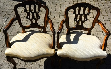 Pair Queen Anne Style Upholstered Arm Chairs