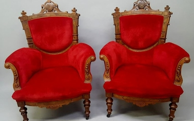 Pair of 1870's American Burl Walnut Arm Chairs - they