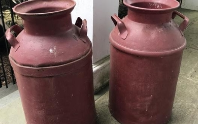 Pair of Antique 19th C Red Painted Metal Milk Cans