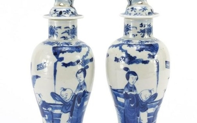 Pair of Chinese blue and white baluster vases with