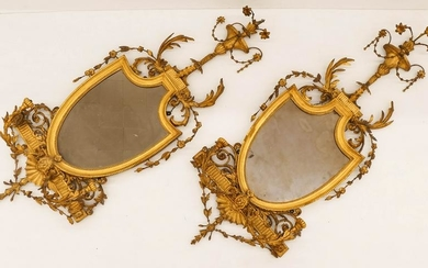 Pair of French 19th Cent. Gilt Girandole Mirrors with