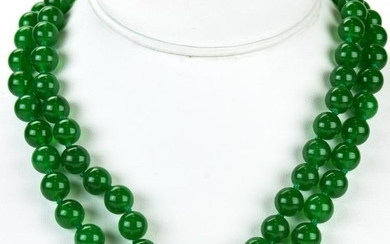 Pair of Hand Knotted Jade Bead Necklace Strands