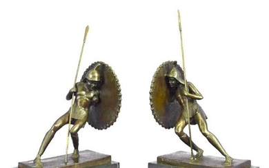 Pair of Warriors With Shields Bronze Bookend Sculptures