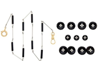Platinum, White Gold, Black Onyx, Seed Pearl and Diamond Dress Set and Fob Chain