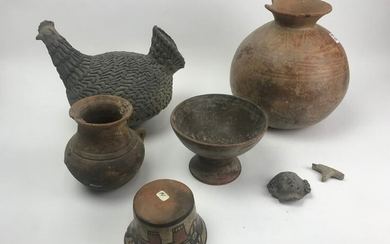 Pre Columbian Pots with Pottery Hen