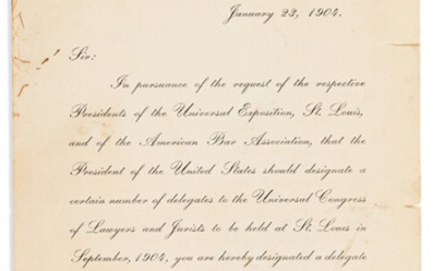 ROOSEVELT THEODORE Printed Letter Signed as President to Sim