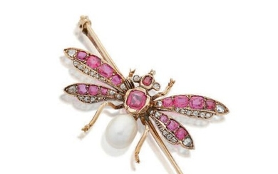 RUBIS, NATURAL PEARL AND DIAMOND BROOCH