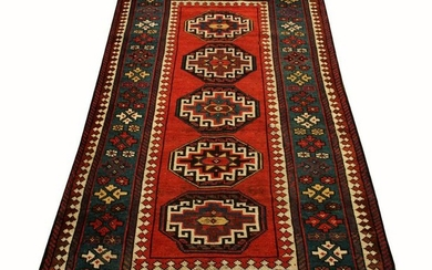 RUSSIAN, ANTIQUE, HAND WOVEN WOOL RUG
