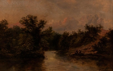 Ralph Reuben Stubbs (British, c. 1820-1880) Fishing for Salmon Trout on the River