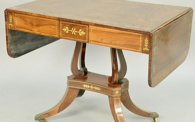 Regency Brass Inlaid Mahogany Sofa Table, one side with