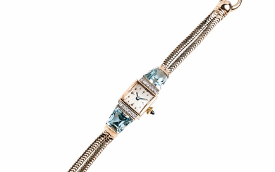 Retro 14kt Gold, Aquamarine, and Diamond Watch