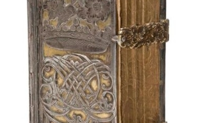 Richly decorated German silver binding with raised decoration on a golden ground over wooden covers. With ornamentally entwined centrepiece, the upper third with flowering plants in a stylised 13-pointed crown, the lower third with 2 stylised tulip...