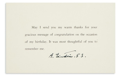 "(SCIENTISTS.) EINSTEIN, ALBERT. Thank you card dated and Signed, ""A. Einstein. 53,"""