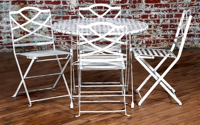 SET 4 IRON REGENCY STYLE FOLDING CHAIRS AND TABLE