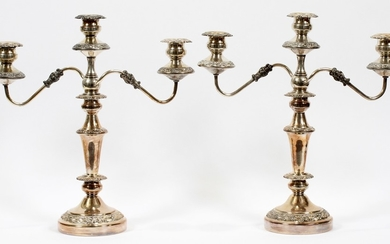 SILVER PLATE CANDELABRAS PAIR 18 17