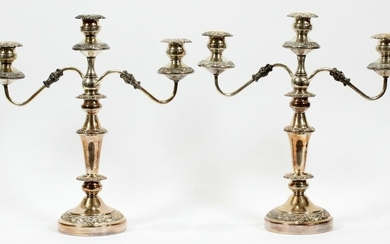 "SILVER PLATE CANDELABRAS, PAIR, H 18"", W 17"""