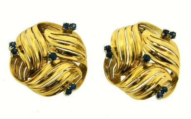 Sapphire Yellow Gold EARRINGS 1950s Italy