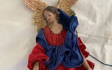 Sculpture, Angel (1) - Earthenware, Glass, Textiles, tow - Second half 19th century