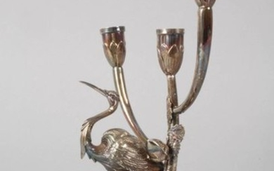 Silver candlestick with heron