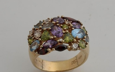 Silver plated ring, 925/000, with colored stones.