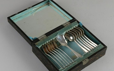 Silver spoon set, 833/000, in beautiful lacquer