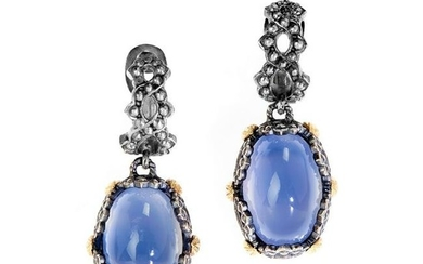 Stambolian Aged Silver & 18K Gold Drop Earrings with