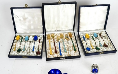 Sterling Silver & Enamel Spoons & Forks, Others