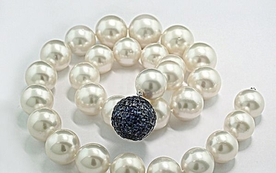 Südsee aus Australien! South sea pearls - Necklace Luxury South Sea pearls white 13 on 16.4 mm tips Quality sapphires 13.20 carat