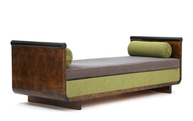 NOT SOLD. Swedish Grace: Daybed with curvy, profiled frame of black painted and stained birch....