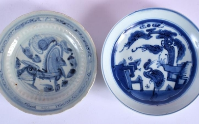 TWO 18TH/19TH CENTURY BLUE AND WHITE DISHES possibly