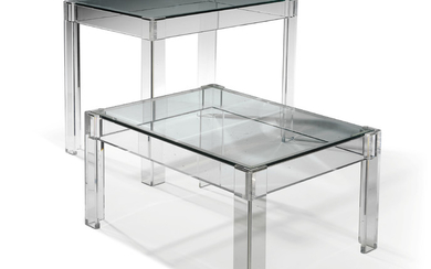 TWO ACRYLIC AND GLASS OCCASIONAL TABLES, MODERN, POSSIBLY MADE BY QUADRANT 4