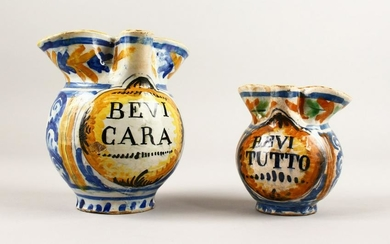 "TWO ITALIAN TIN GLAZE JUGS ""BEVI CARA"" and ""BEVI"