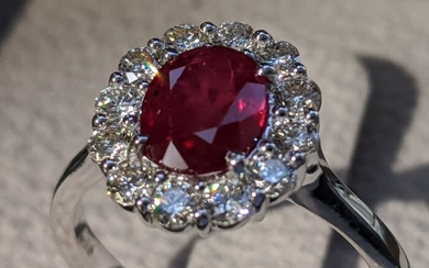 Top Quality Natural Ruby Halo Ring - 14 kt. White gold - Ring - 1.61 ct Ruby - Diamonds