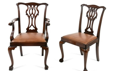 Two George III Style Carved Mahogany Chairs Height of
