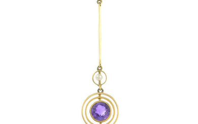 Two items of early 20th century gold amethyst and split pearl jewellery.